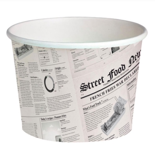 "PacknWood Paper News Print Deli Container - 24 oz - 4.5"" - 210DELINEWS24"