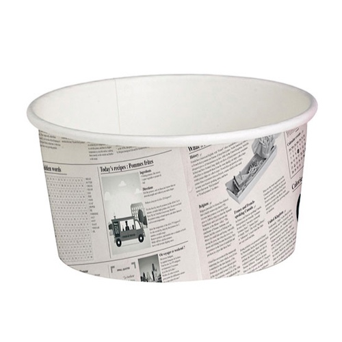 "PacknWood Paper News Print Deli Container - 20 oz - 4.5"" - 210DELINEWS20"