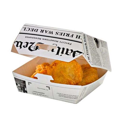 "PacknWood Paper News Print Slider Box - 4 oz - 3.3"" x 3.3"" x 2"" - 210EATBNEWS80"
