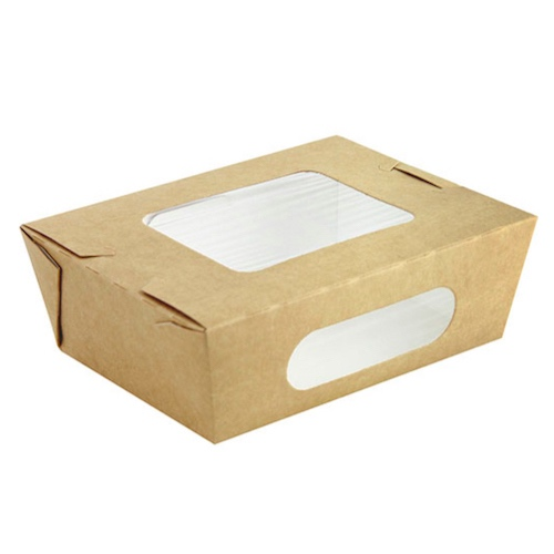 "PacknWood Paper Kraft Window Salad Box - 24 oz - 6.1"" x 4.7"" x 2"" - 210BOXS752"