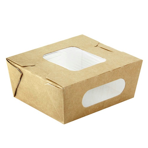 "PacknWood Paper Kraft Window Salad Box - 16 oz - 4.1"" x 3.7"" x 1.8"" - 210BOXS502"
