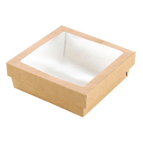 "PacknWood Paper Kraft Window Lid Kray Box - 34 oz - 5.5"" x 5.5"" x 2"" - 210KRAYB155"