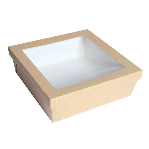 "PacknWood Paper Kraft Window Lid Kray Box - 132 oz - 8.7"" x 8.7"" x 3.2"" - 210KRAYB228"