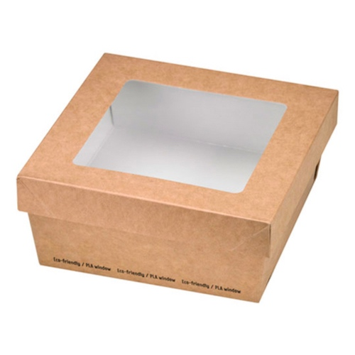 "PacknWood Paper Kraft Window Lid Kray Box - 22 oz - 4.7"" x 4.7"" x 2"" - 210KRAYB135"