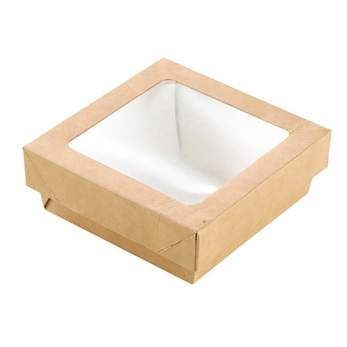 "PacknWood Paper Kraft Window Lid Kray Box - 12 oz - 3.9"" x 3.9"" x 1.6"" - 210KRAYB115"