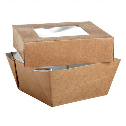 "PacknWood Paper Kraft Window Lid Kray Box - 7 oz - 2.8"" x 2.8"" x 1.6"" - 210KRAYB85"