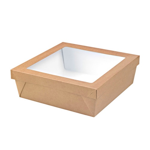 "PacknWood Paper Kraft Window Lid Kray Box - 102 oz - 9.8"" x 9.8"" x 2"" - 210KRAYB255"