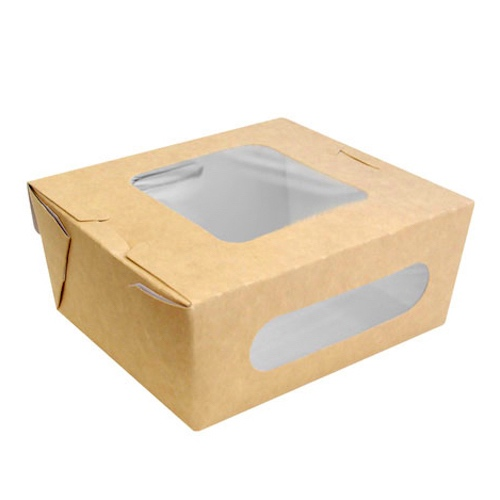 "PacknWood Paper Kraft Window Salad Box - 5.9"" x 5.3"" x 2.5"" - 210BOXS1002"
