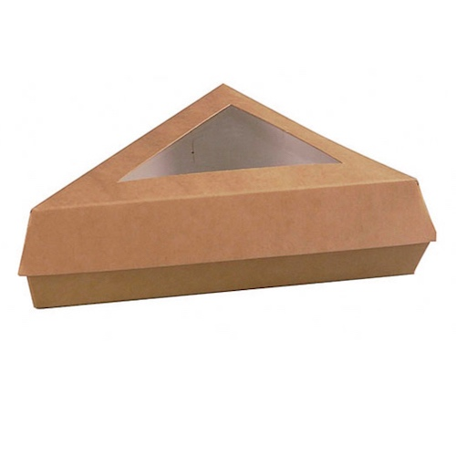 "PacknWood Paper Kraft Window Slice Box - 12 oz - 6.6"" x 6.6"" x 5.1"" - 209PATTRIBR"