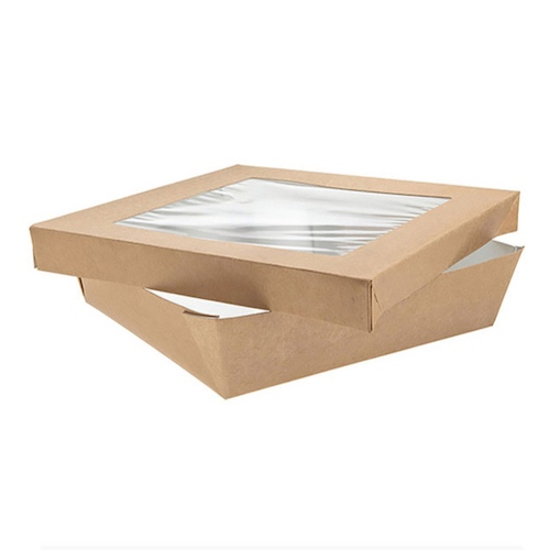 "PacknWood Paper Kraft Window Lid Kray Box - 60 oz - 7.1"" x 7.1"" x 2"" - 210KRAYB195"
