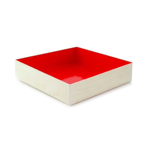 "PacknWood Wood Red Shiny Interior Folding Box - 6.3"" x 6.3"" x 1.4"" - 210SAMRED160"