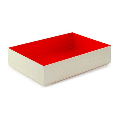 "PacknWood Wood Red Shiny Interior Folding Box - 4.7"" x 6.4"" x 1.4"" - 210SAMRED120"