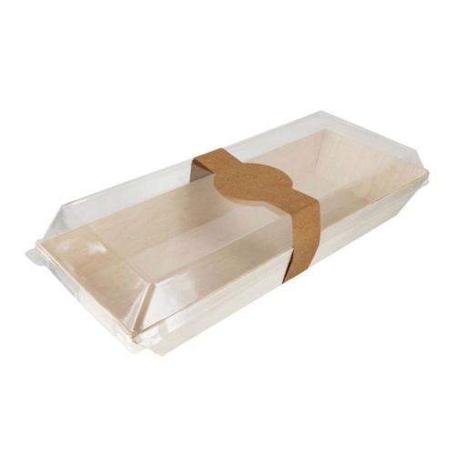 "PacknWood Wood Rectangular Samurai Tray - 14 oz - 8.4"" x 3.3"" - 210SAMBQ215"
