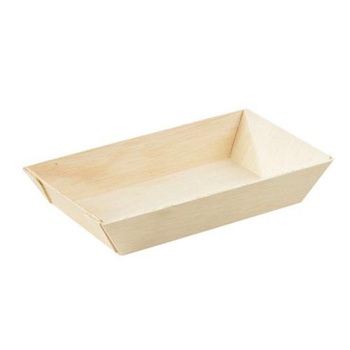 "PacknWood Wood Rectangular Dish - 10 oz - 6"" x 3.3"" - 210SAMBQ85"
