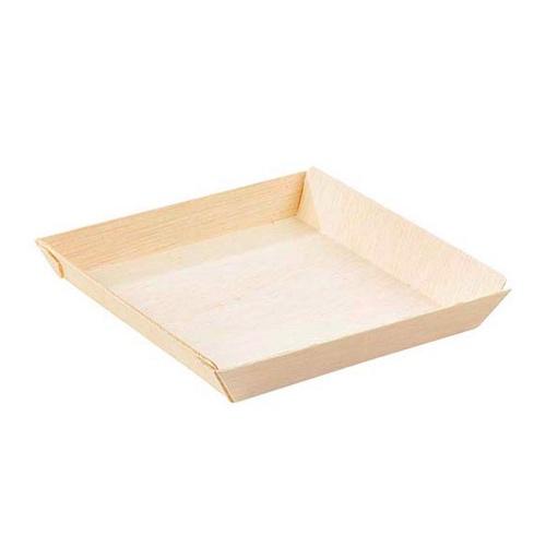 "PacknWood Wood Square Dish - 8 oz - 5.2"" - 210SAMBQ1313"