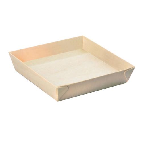 "PacknWood Wood Square Samurai Tray - 28 oz - 6.6"" - 210SAMBQ170"