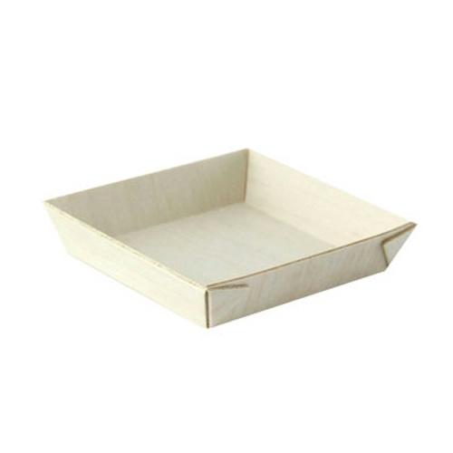 """PacknWood Wood Square Samurai Tray - 2.8"""" - 210SAMBQ70"""