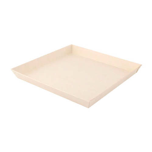 "PacknWood Wood Square Dish - 42 oz - 9"" - 210SAMBQ2323"