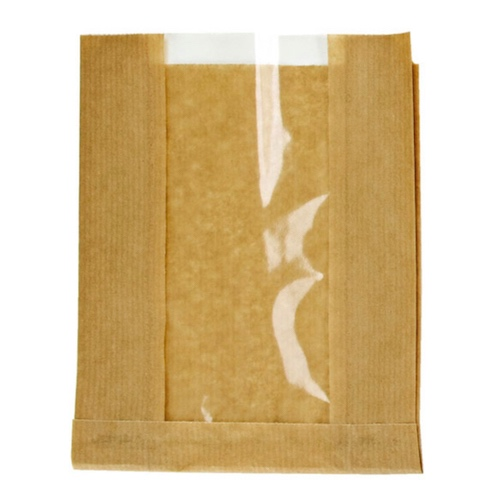 "PacknWood Paper Kraft Window Bag - 11"" x 7.1"" x 2.8"" - 210SVIS2818"