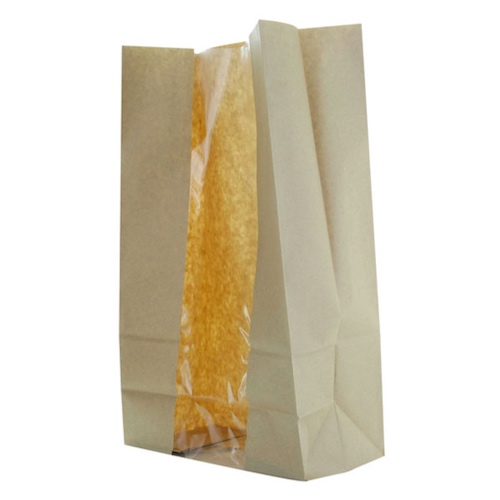 "PacknWood Paper Kraft Window Bag - 8.9"" x 4.7"" x 10.8"" - 210SOS22BRF"