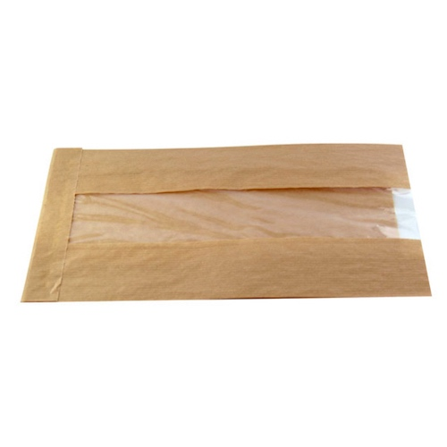 "PacknWood Paper Kraft Window Bag - 8.7"" x 4.7"" x 2"" - 210SVIS2212"