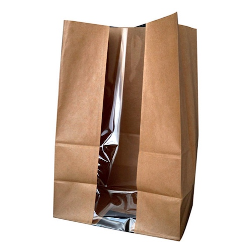 "PacknWood Paper Kraft Window Bag - 7.1"" x 4.3"" x 10.4"" - 210SOS11BRF"
