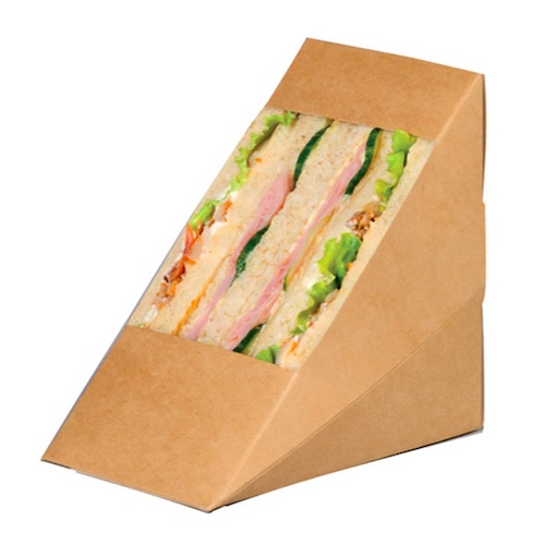 "PacknWood Paper Kraft Triple Wedge Sandwich Box - 4.8"" x 3.2"" x 4.8"" - 209KCK8512"