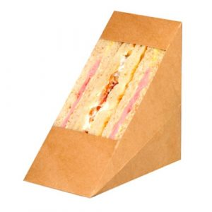 PacknWood Paper Kraft Triple Wedge Sandwich Box - 4.8