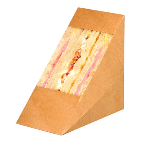 "PacknWood Paper Kraft Triple Wedge Sandwich Box - 4.8"" x 2.8"" x 4.8"" - 209KCK7212"