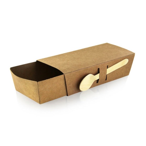 """PacknWood Paper Kraft Sleeve for Snack Tray - 8.5"""" x 3.5"""" x 2"""" - 210SNAKLID"""