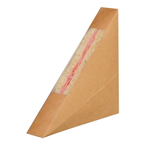 "PacknWood Paper Kraft Single Wedge Sandwich Box - 4.8"" x 1"" x 4.8"" - 209KCK2612"