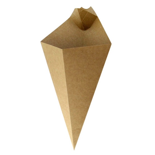 PacknWood Paper Kraft Sauce Compartment Cone - 14 oz - 210CONFR3KR