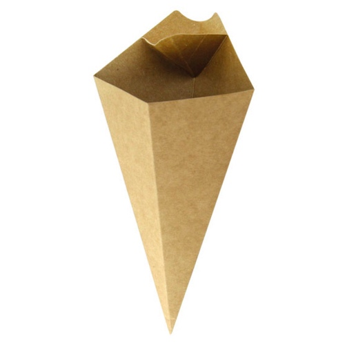 PacknWood Paper Kraft Sauce Compartment Cone - 5 oz - 210CONFR1KR