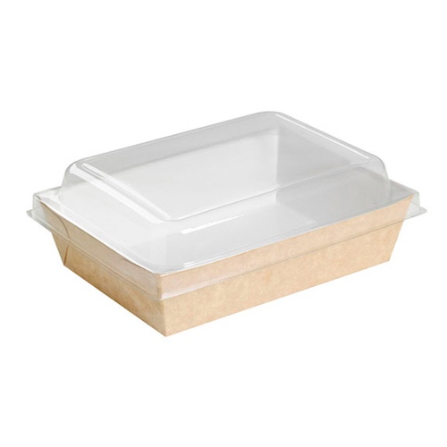 "PacknWood Paper Kraft Salad Container - 28 oz - 9"" x 6.5"" x 1.5"" - 210PAN850"