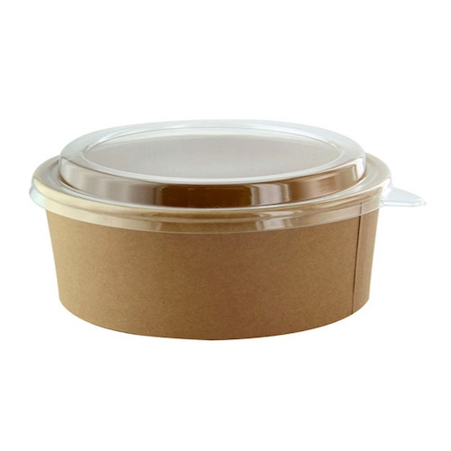 "PacknWood Paper Kraft PET Lid Salad Bucket - 38 oz - 7.2"" - 210PC1100K"