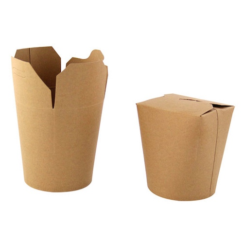 "PacknWood Paper Kraft Pasta Box - 16 oz - 3.25"" - 210ASWOK16"