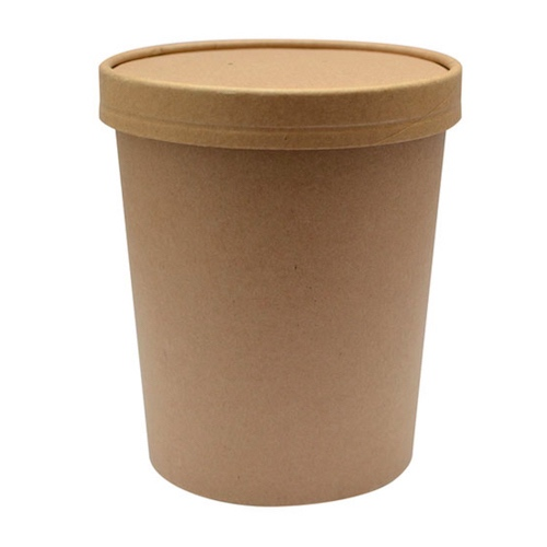 "PacknWood Paper Kraft Lid Soup Cup - 32 oz - 4.5"" - 210SOUPCOK32"