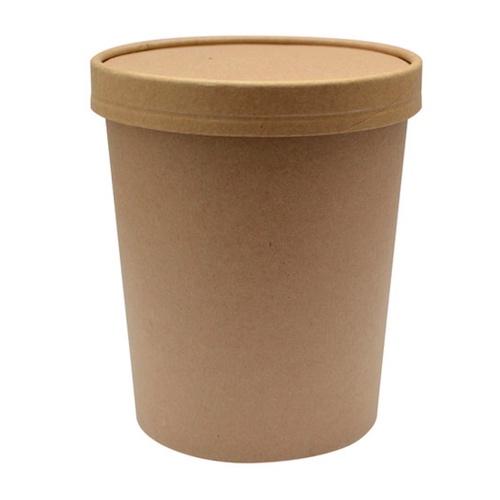 "PacknWood Paper Kraft Lid Soup Cup - 32 oz - 4.5"" - 210SOUPCOK32"