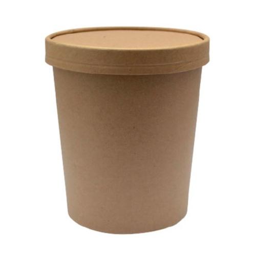"PacknWood Paper Kraft Lid Soup Cup - 18 oz - 3.8"" - 210SOUPCOK25"