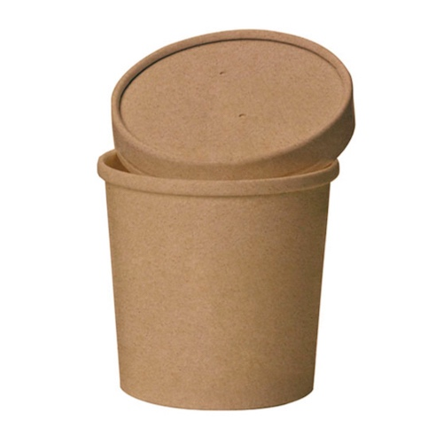 "PacknWood Paper Kraft Lid Soup Cup - 16 oz - 3.8"" - 210SOUPCOK16"