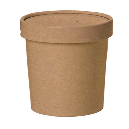 "PacknWood Paper Kraft Lid Soup Cup - 12 oz - 3.5"" - 210SOUPCOK12"