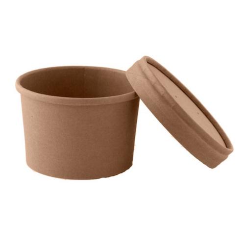 "PacknWood Paper Kraft Lid Soup Cup - 8 oz - 3.8"" - 210SOUPCOK8"
