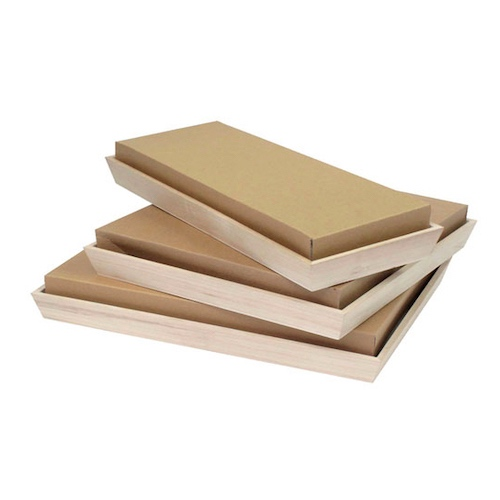 "PacknWood Paper Kraft Lid for Heavy Duty Tray - 17"" x 7.5"" - 210NOAHLID15"