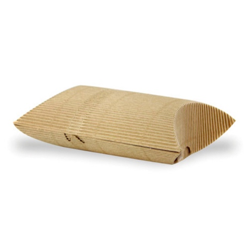 "PacknWood Paper Kraft Hot Pillow Box - 5.1"" x 5.7"" x 2.2"" - 210ETCROQ1"