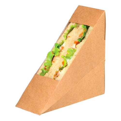 "PacknWood Paper Kraft Double Wedge Sandwich Box - 4.8"" x 2"" x 4.8"" - 209KCK5212"