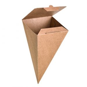 PacknWood Paper Kraft Closeable Snack Cone - 3.5