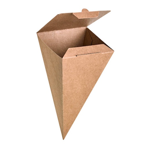 "PacknWood Paper Kraft Closeable Snack Cone - 3.5"" x 3.5"" x 7.5"" - 210SCONEKR"