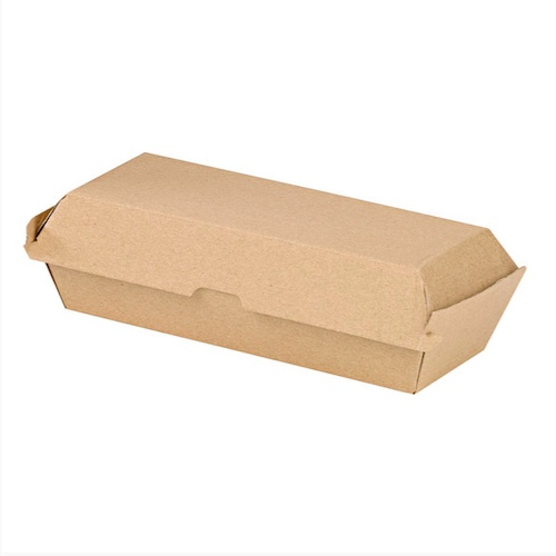 "PacknWood Paper Kraft Clamshell Hinged Container - 9.9"" x 4.25"" x 2.6"" - 210EATDOG240K"
