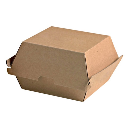 """PacknWood Paper Kraft Clamshell Hinged Container - 5.7"""" x 5.3"""" x 3.2"""" - 210EATBURG145K"""