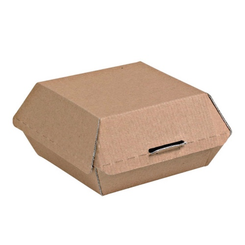 """PacknWood Paper Kraft Clamshell Hinged Container - 5.3"""" x 4.9"""" x 2.5"""" - 210EATBURG135K"""